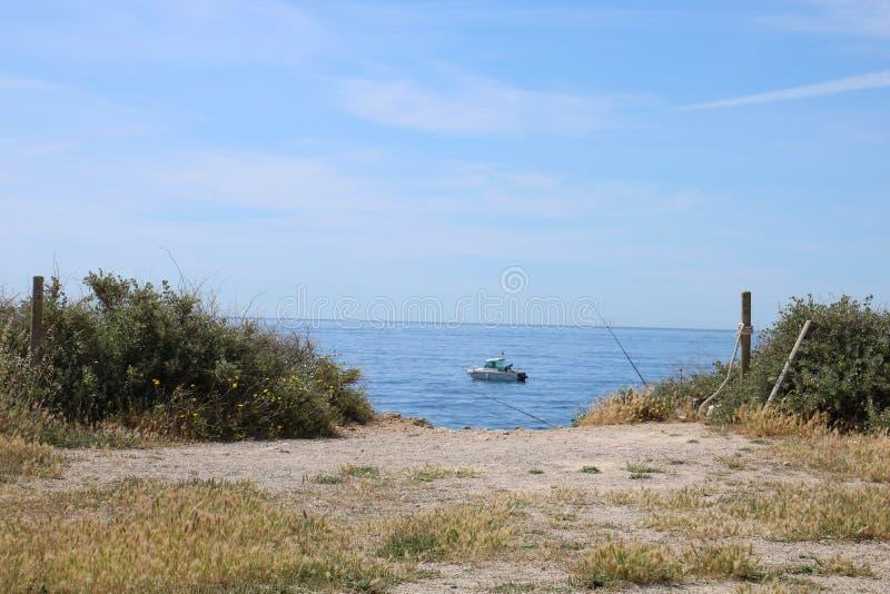 Sailing on the Balearics stock image