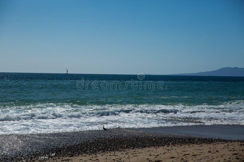Sailboat view from Camarones Beach. Sailing Banderas Bay from Camarones Beach, Puerto Vallarta, Jalisco, Mexico stock photography