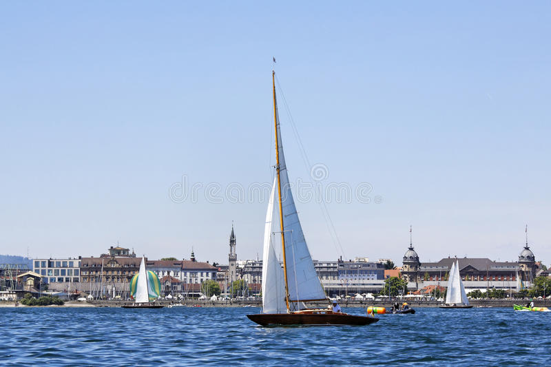 Sailing boat. On the lake and City Konstanz, Germany royalty free stock photo