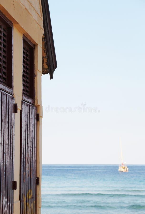Sailing boat at anchor, blurred royalty free stock photos