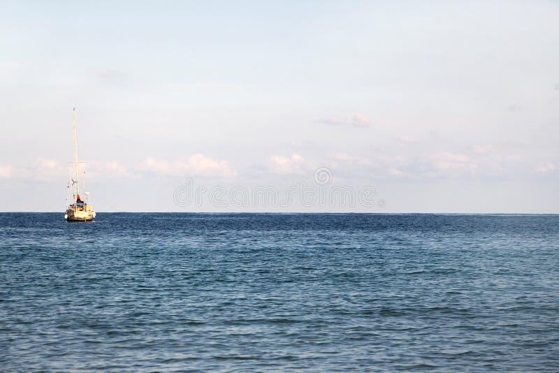 sailing boat at anchor royalty free stock photography