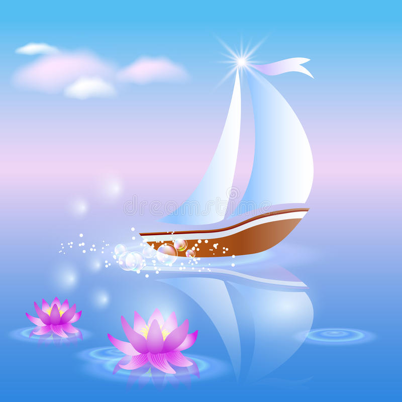 Free Sailing Boat And Violet Lilies Stock Photography - 23837182