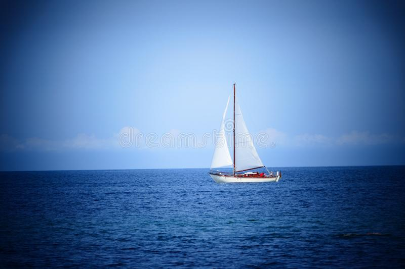 Vintage sail boat in the baltic sea royalty free stock photos