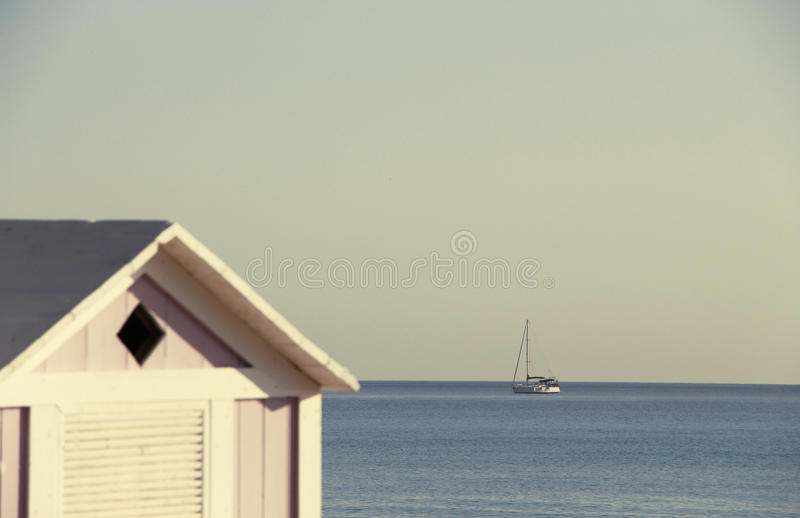 sailing boat with blurred foreground, vintage stock photos