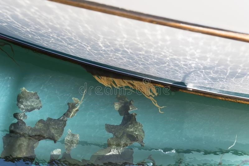 Sailing boat detail with seaweed and turquoise emerald water stock image