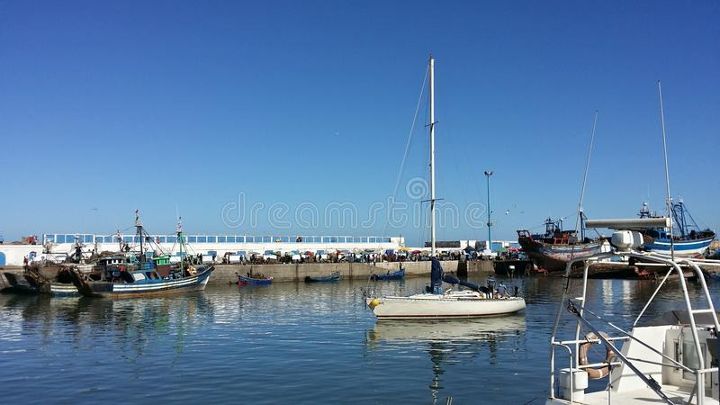 Sailing Boat at Essaouria Port, Morocco royalty free stock photography