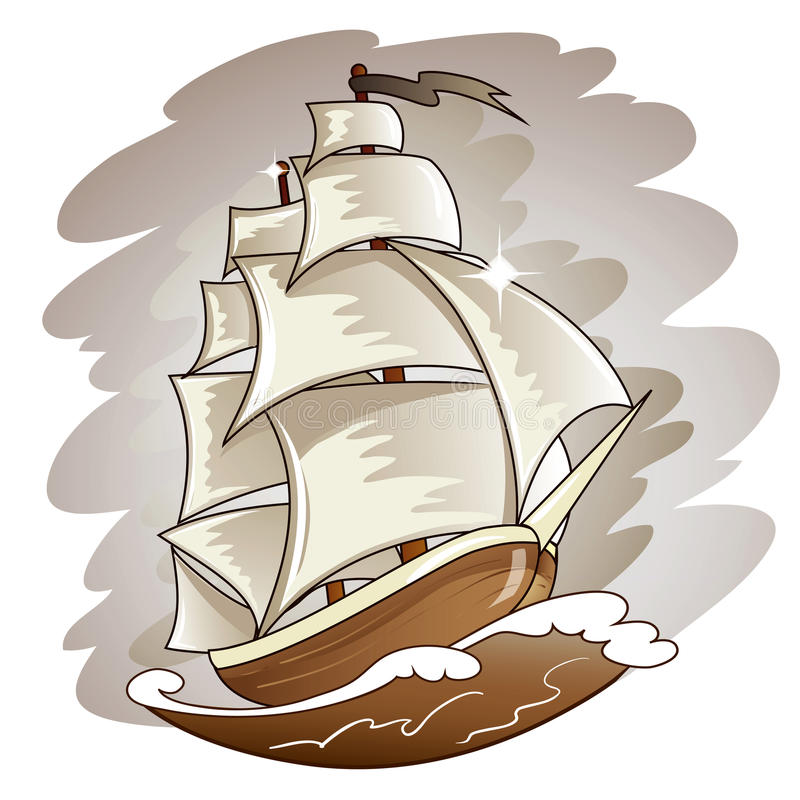 Sailing Boat Floating On Water Surface. Vector Col Stock Illustration