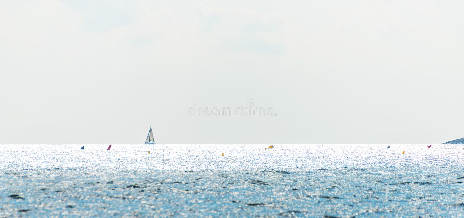sailing boat flowing on the sea, a cruise on the open sea, sailing stock image