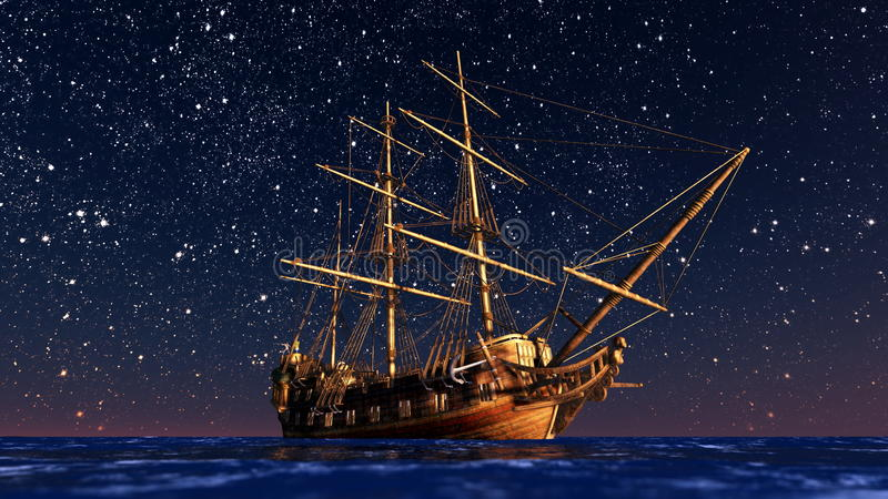 Sailing boat goes on a voyage under starlight . vector illustration