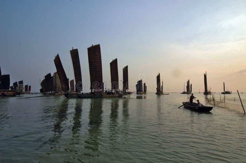Sailing boat on hongze lake, jiangsu province, China stock image