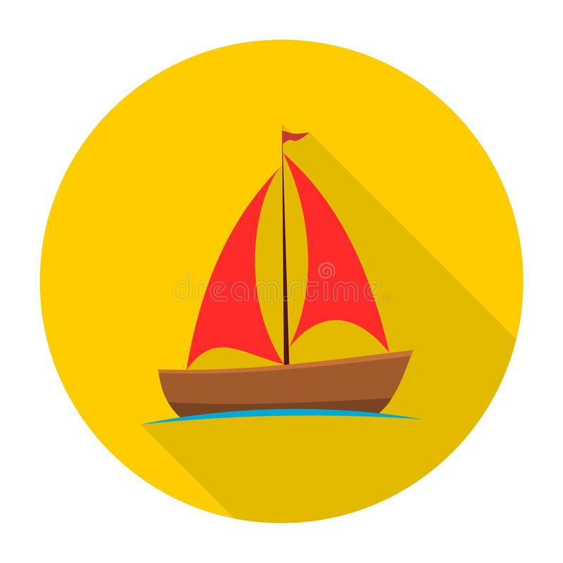 Sailing boat icon with long shadow. Vector icon royalty free illustration
