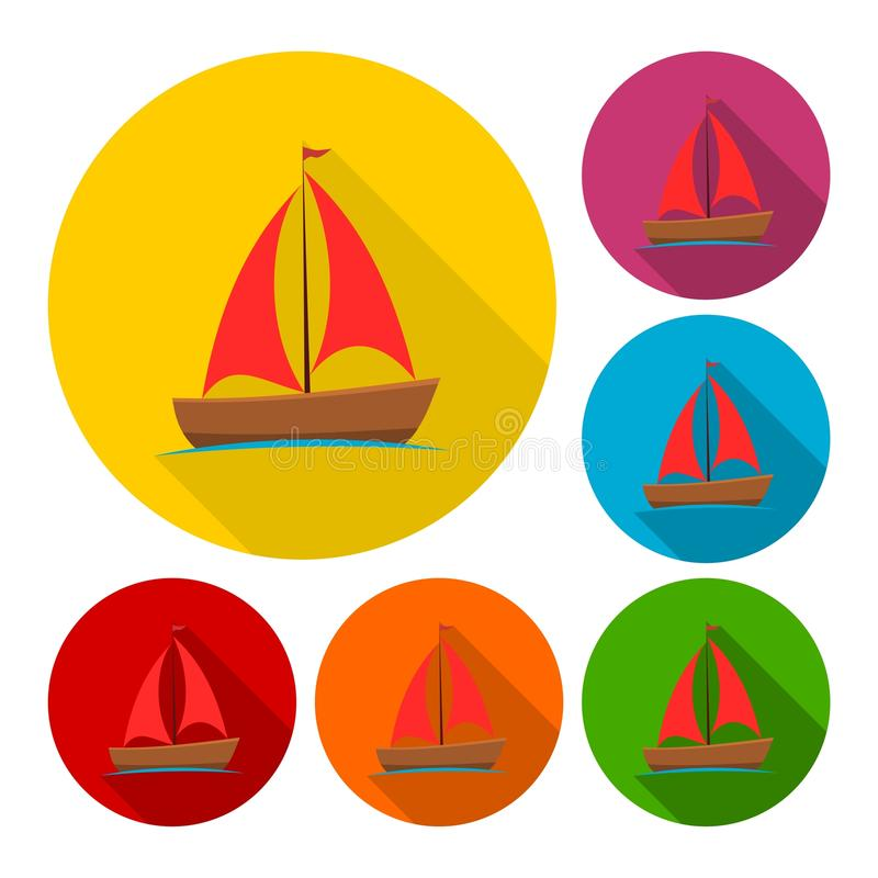 Sailing boat icons set with long shadow. Vector icon stock illustration