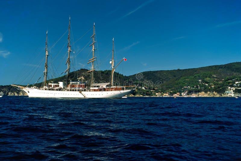 Sailing boat in Isle of Elba. stock photo