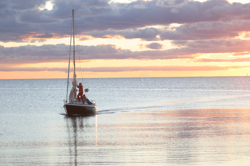 Download Sailing Boat On Its Way Into Harbour Stock Image - Image: 2099701