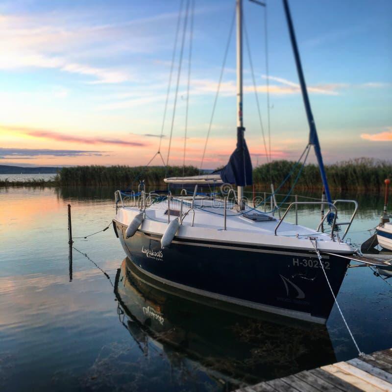 Sailing boat at lake Balaton stock images