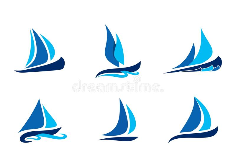 Sailing, boat, logo, sailboat symbol, creative vector designs set of sailboat logo icon collection. Sailing boat logo, blue sailboat symbol, creative vector stock illustration