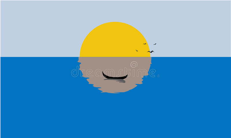Sailing Boat, Misty Sunset, Reflection on Water. Solid, flat color royalty free illustration