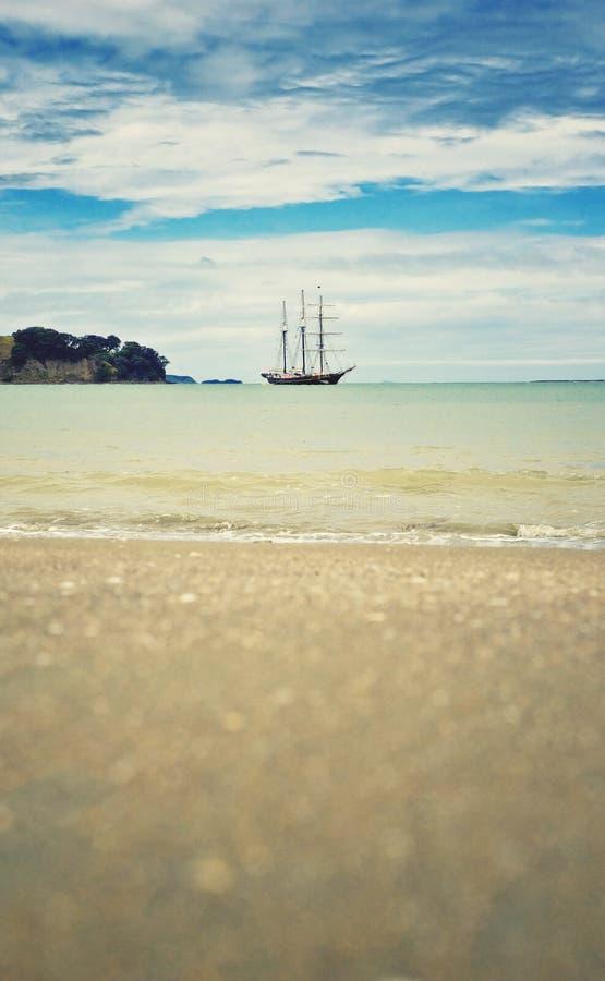 Sailing boat and the sea royalty free stock photos