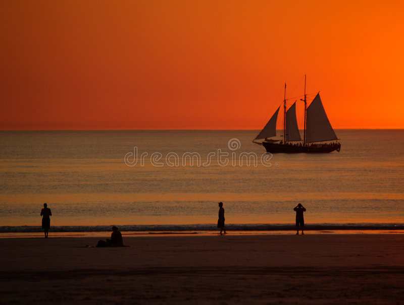 Sailing boat in Sunset, Broome stock photography
