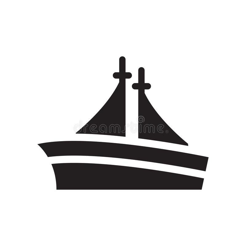 Sailing boat with veils icon vector isolated on white background. Sailing boat with veils transparent sign , black symbols royalty free illustration
