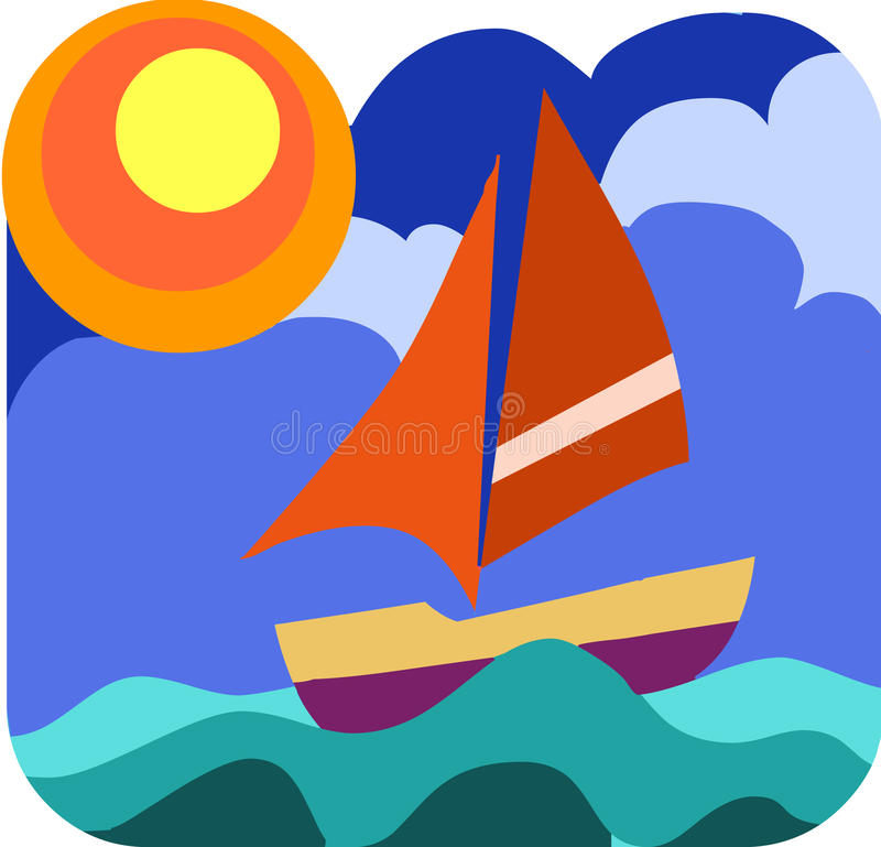 Sailing boat in the wavy sea stock illustration
