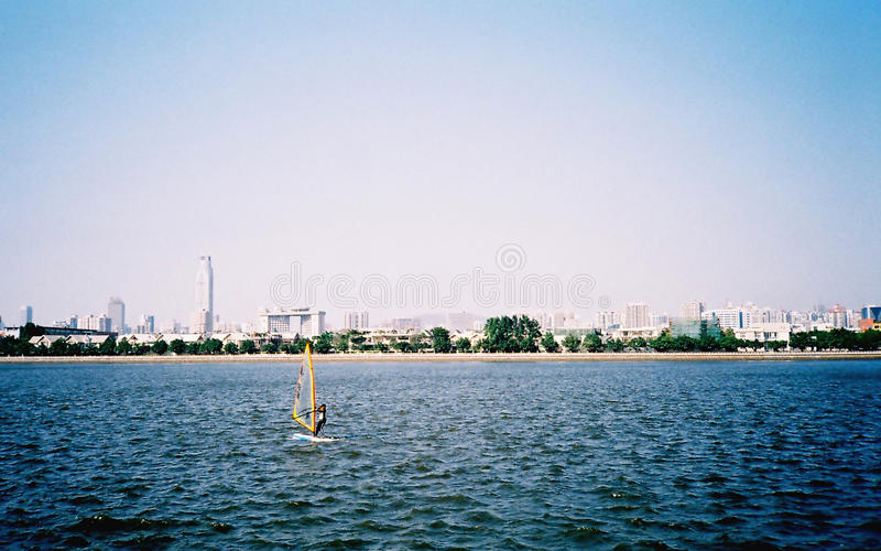Sailing boat in the wind stock photos