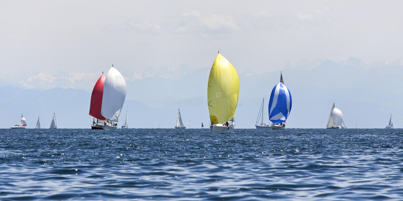 Sailing boats. On the lake stock images