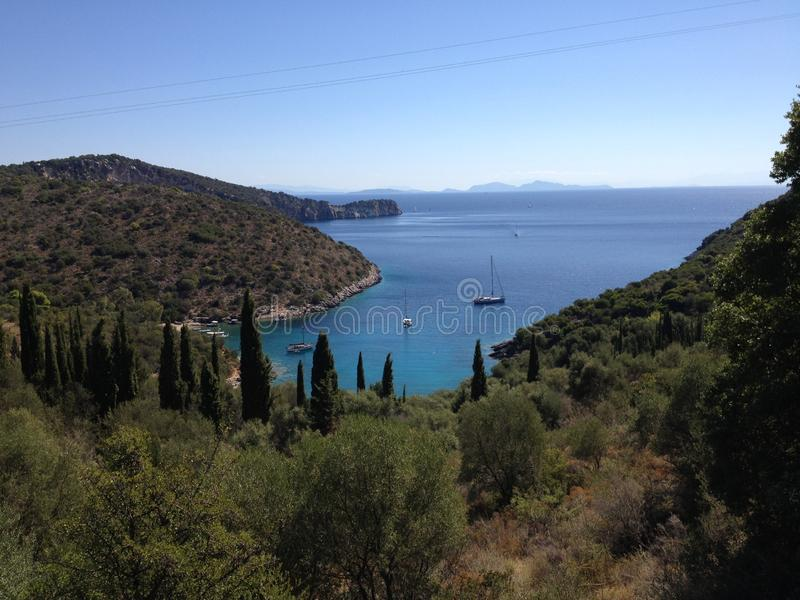 Sailing boats in the bay, Greece islands stock image