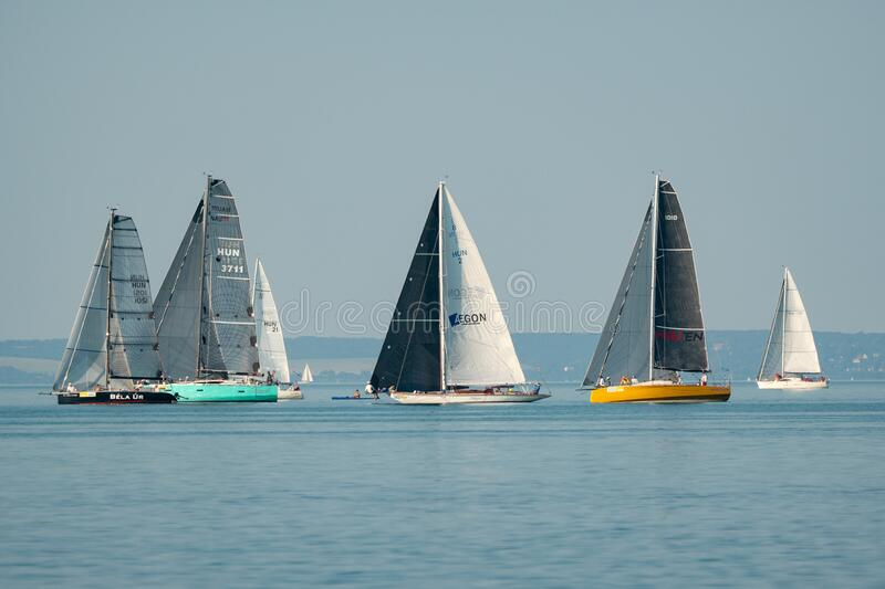 Sailing boats compete on 52.nd Kékszalag royalty free stock image