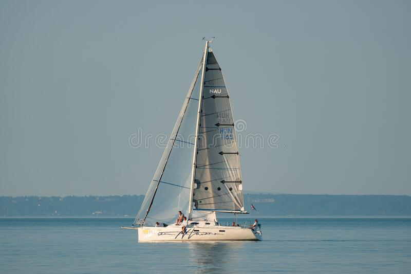 Sailing boats compete on 52.nd Kékszalag stock image