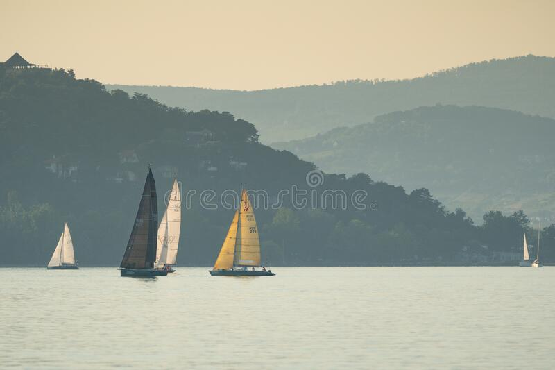 Sailing boats compete on 52.nd Kékszalag royalty free stock photography
