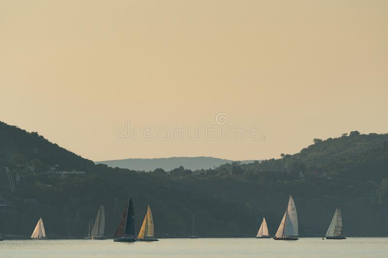 Sailing boats compete on 52.nd Kékszalag royalty free stock photos