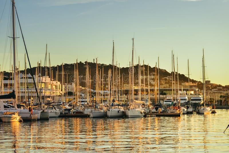Sailing boats in French Marina royalty free stock photography