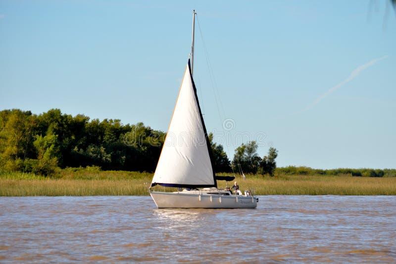 Sailing on boats at Rio de la Plata royalty free stock photo
