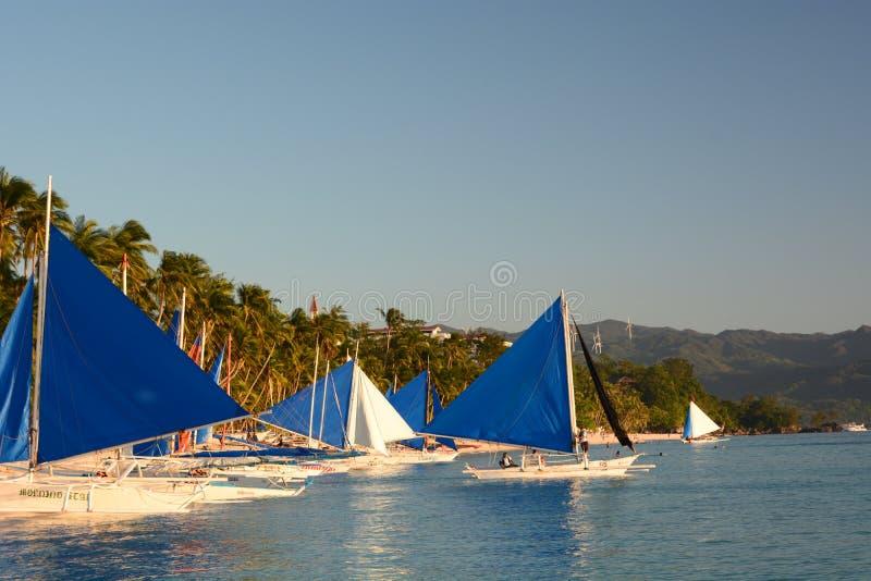 Sailing boats at station 1. White beach. Boracay Island. Western Visayas. Philippines royalty free stock image