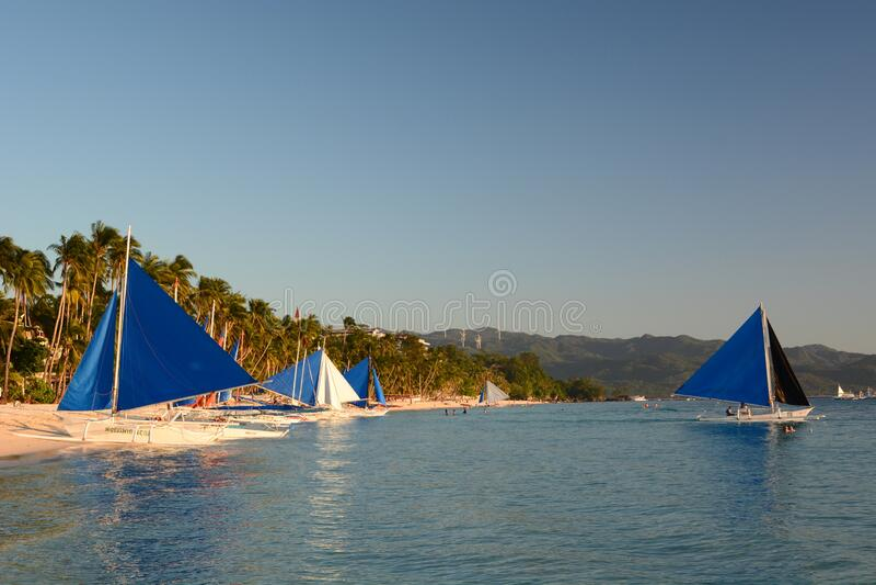 Sailing boats. White beach station 1. Boracay Island. Western Visayas. Philippines royalty free stock image