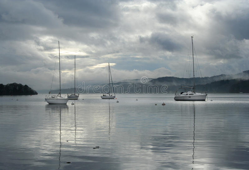 Sailing Boats On Windermere Stock Images