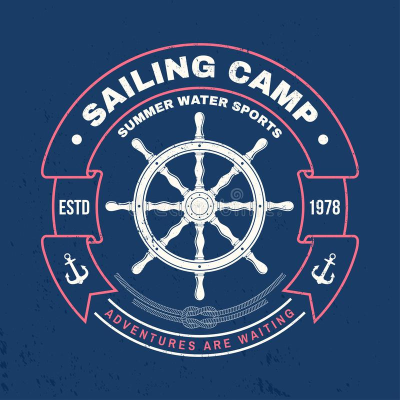 Sailing camp badge. Vector. Concept for shirt, print, stamp or tee. Vintage typography design with black sea anchor. Sailing camp badge. Vector illustration stock illustration