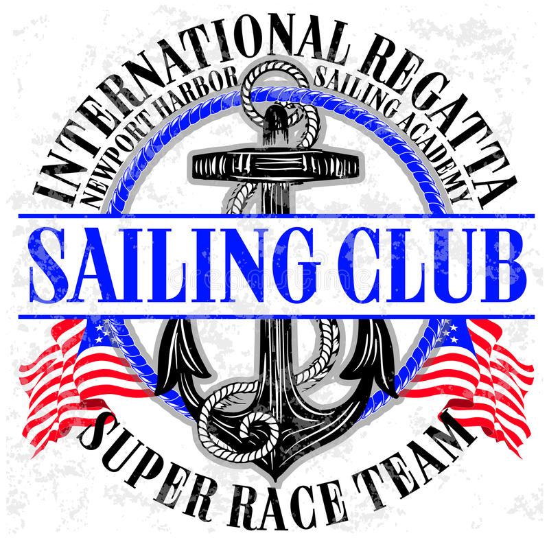 Sailing club logo with anchor stock illustration