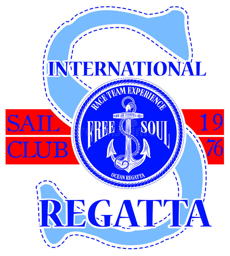 Sailing club logo with anchor vector illustration