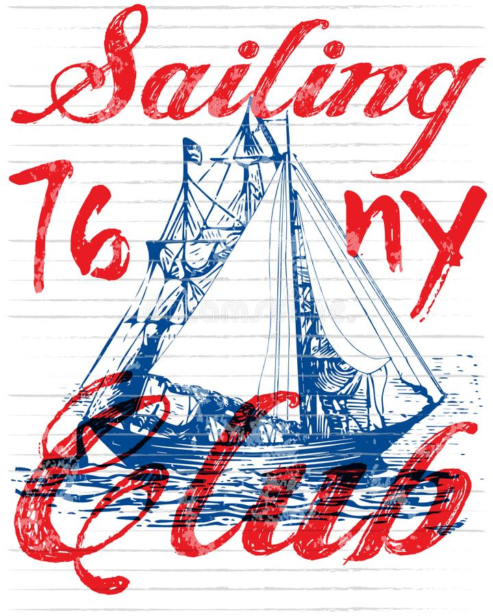 Sailing club tee poster graphic stock illustration