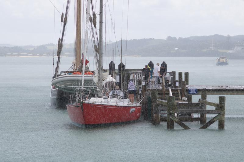 Sailing Day Canceled As Heavy Rain Covers The Ocean. Frequent rains are just part and parcel of living in new zealand stock photos