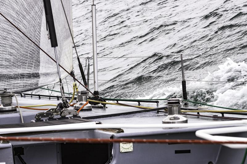 Detail and part of inside of Sailboat during sailing in Denmark royalty free stock images