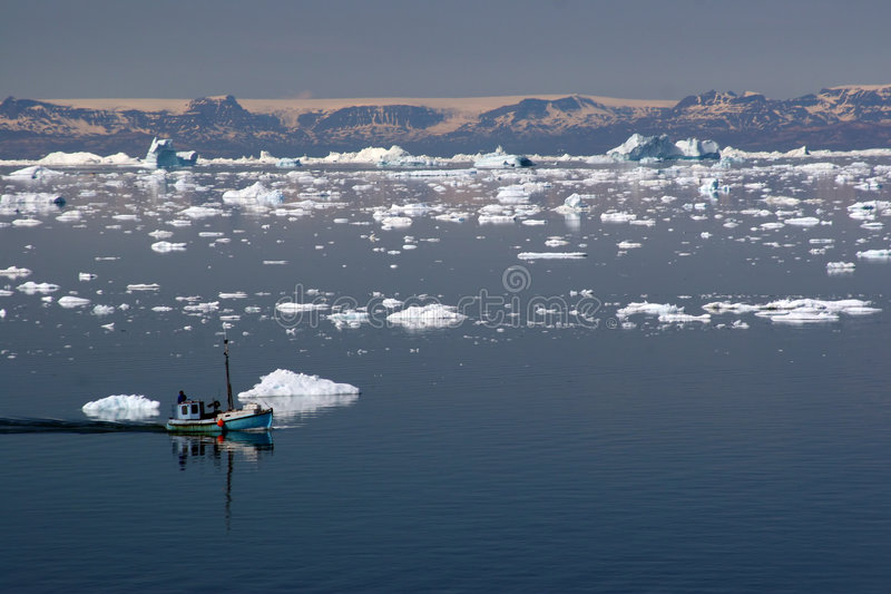 Sailing in the Disco Bay, Ilulissat stock photography