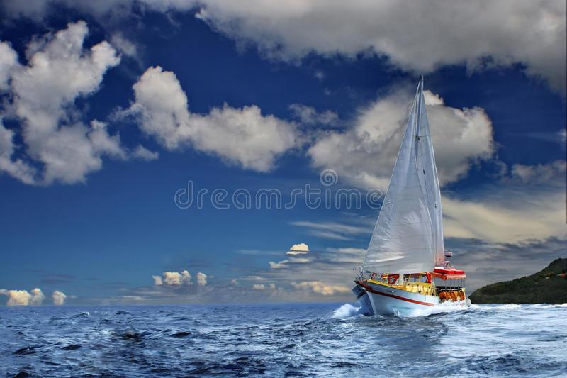 Sailing of dream explorers stock photography