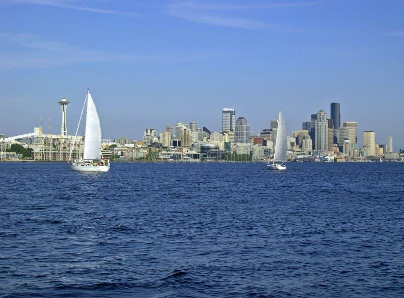 Sailing on Elliott Bay royalty free stock photo