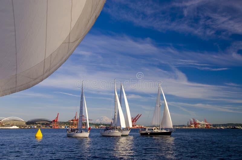 Sailing on Elliott Bay royalty free stock photos
