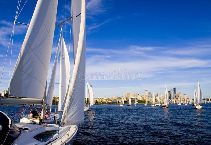 Sailing on Elliott Bay stock photo