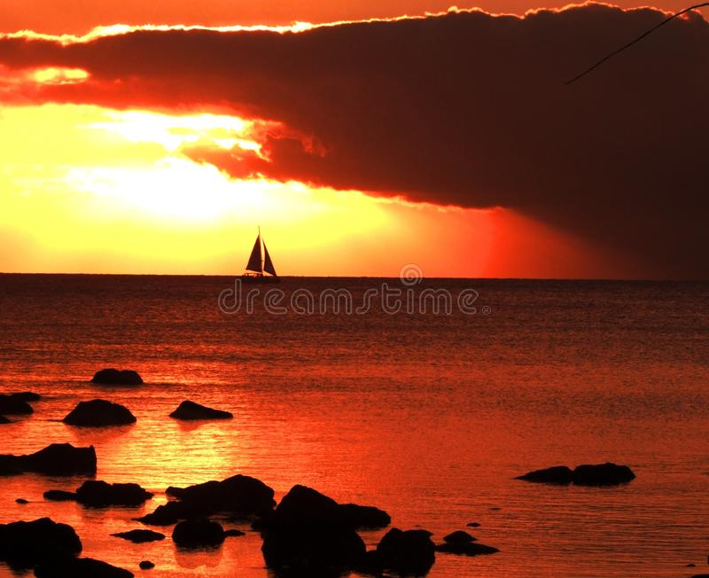 Sailing in the evening royalty free stock image