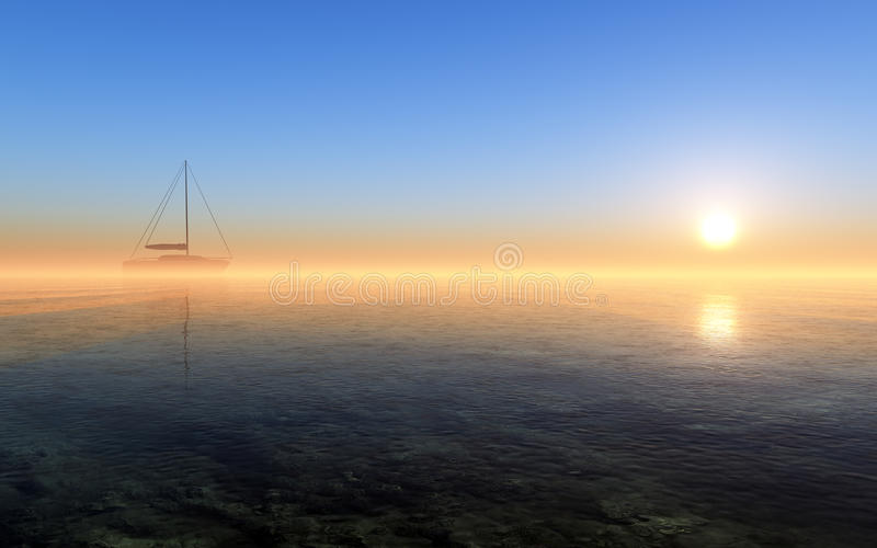 Sailing In The Fantasy Sunset stock photos